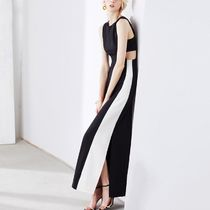 Maxi Sleeveless Street Style U-Neck Bi-color Plain Cotton