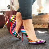 Christian Louboutin Stripes Suede Studded Pin Heels Elegant Style