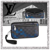 Louis Vuitton DAMIER GRAPHITE Bag in Bag 2WAY Leather Clutches
