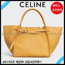CELINE Lambskin Blended Fabrics Bag in Bag 2WAY Plain Elegant Style