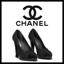 CHANEL Plain Toe Plain Leather Pin Heels Stiletto Pumps & Mules