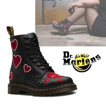 Dr Martens Heart Flower Patterns Mountain Boots Casual Style