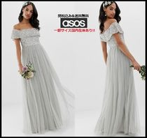 ASOS Maxi Blended Fabrics Plain Long Lace With Jewels Dresses