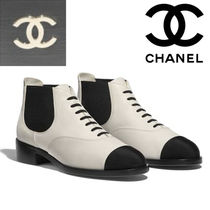 CHANEL Round Toe Casual Style Unisex Blended Fabrics Bi-color