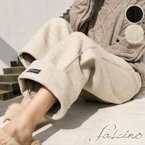Casual Style Plain Long Baked Color Pants