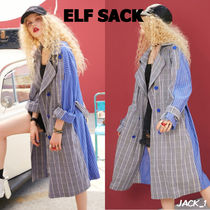 ELF SACK Stripes Other Check Patterns Casual Style Long Trench Coats