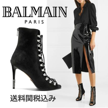 Lace-up Suede Blended Fabrics Plain Pin Heels Elegant Style