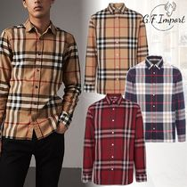 Burberry Glen Patterns Street Style Long Sleeves Cotton Shirts