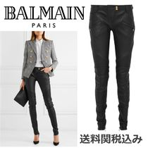BALMAIN Blended Fabrics Plain Leather Elegant Style