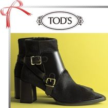 TOD'S Casual Style Blended Fabrics Plain Leather Chunky Heels