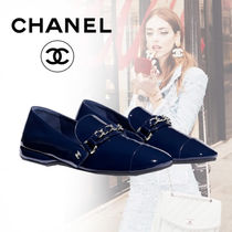 CHANEL Blended Fabrics Bi-color Chain Plain Leather With Jewels