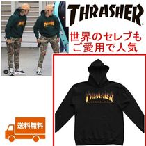 THRASHER Unisex Long Sleeves Cotton Special Edition Hoodies