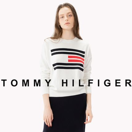 0ba7240d1f40e ... Tommy Hilfiger Cropped Crew Neck Short Casual Style Unisex Street Style  ...