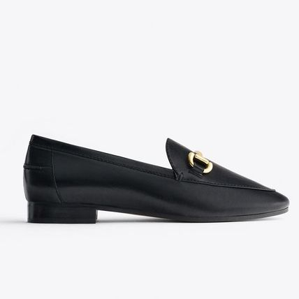 Black Leather Bit Loafers