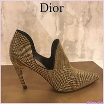 Christian Dior Studded Plain Leather Pin Heels With Jewels Elegant Style