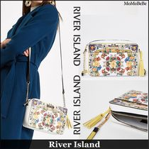 River Island Flower Patterns Casual Style Faux Fur Shoulder Bags