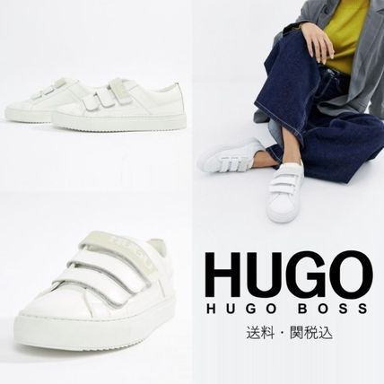 Plain Toe Casual Style Plain Leather Low-Top Sneakers