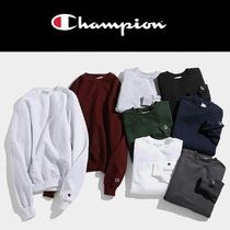 CHAMPION Unisex Street Style Long Sleeves Plain Cotton