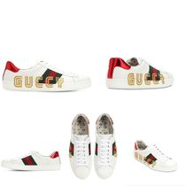 GUCCI Stripes Street Style Collaboration Leather Handmade Sneakers