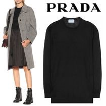 PRADA Wool Long Sleeves Plain Medium Elegant Style Sweaters