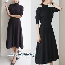 Casual Style Flared Plain Long Short Sleeves High-Neck Midi