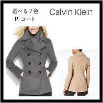 Calvin Klein Cashmere Plain Office Style Peacoats