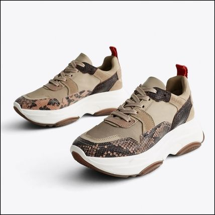 Platform Lace-up Casual Style Leather Python