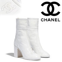 CHANEL Plain Toe Street Style Plain Leather Block Heels