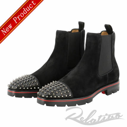 Christian Louboutin 2019 Ss Plain Toe Suede Studded Plain Chelsea Boots Chelsea Boots 3160958b139