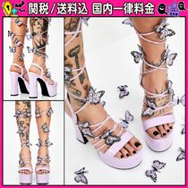 DOLLS KILL Open Toe Platform Lace-up Casual Style Faux Fur