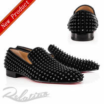 Christian Louboutin DANDELION Plain Toe Loafers Suede Studded Plain Loafers & Slip-ons