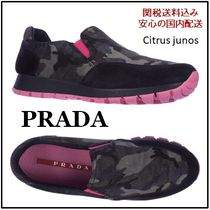 PRADA Camouflage Round Toe Rubber Sole Low-Top Sneakers