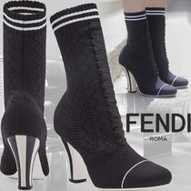 FENDI Stripes Leather Ankle & Booties Boots