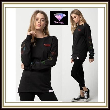 Street Style Long Sleeves Logos on the Sleeves T-Shirts