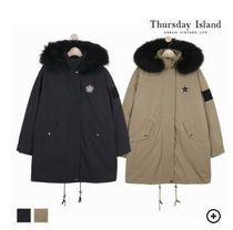 Thursday Island Casual Style Fur Blended Fabrics Street Style Medium Parkas