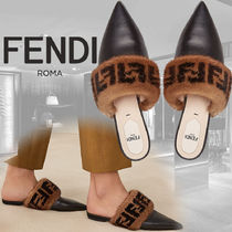 FENDI Monogram Leather Sandals