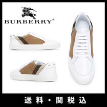 Burberry Other Check Patterns Round Toe Casual Style Low-Top Sneakers