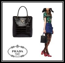PRADA DOUBLE Casual Style Crocodile 2WAY Plain Handbags