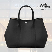 HERMES Garden Party Blended Fabrics Street Style 2WAY Plain Leather