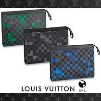 Louis Vuitton DAMIER GRAPHITE Other Check Patterns Canvas Bag in Bag Clutches