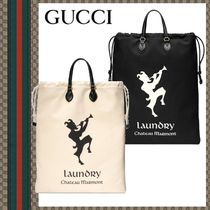GUCCI Flower Patterns Unisex Canvas Street Style Bags
