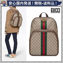 GUCCI Ophidia Stripes Monogram Canvas Backpacks