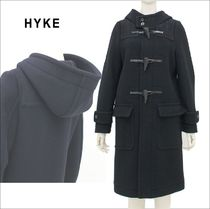 Hyke Casual Style Wool Plain Medium Duffle Coats