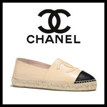 CHANEL Platform Round Toe Casual Style Leather Lace-Up Shoes