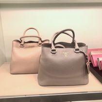 PRADA Plain Leather Shoulder Bags
