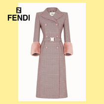 FENDI Other Check Patterns Wool Long Elegant Style Coats