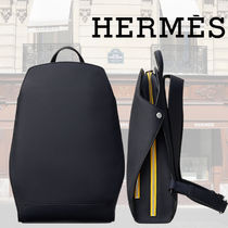 HERMES Street Style Bi-color Plain Leather Backpacks