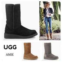 UGG Australia AMIE Round Toe Sheepskin Plain Wedge Boots
