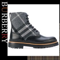 Burberry Other Check Patterns Street Style Leather Boots