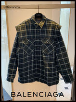 BALENCIAGA Other Check Patterns Casual Style Unisex Long Sleeves